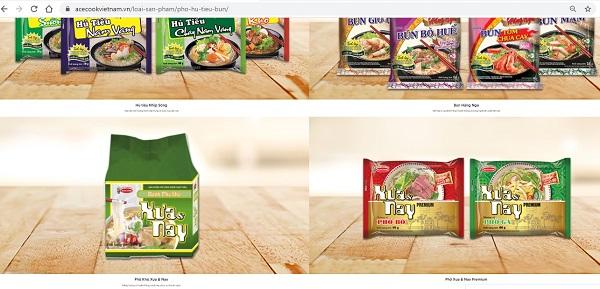 Những sản phẩm nào của Acecook Việt Nam đang phân phối tại thị trường trong nước?