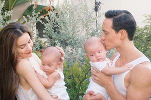 Cặp sinh đôi tròn 4 tháng, Hồ Ngọc Hà khoe loạt ảnh
